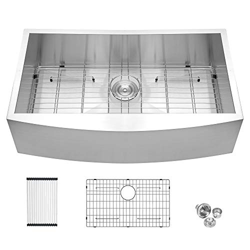 33 Framhouse Sink - Logmey 33 inch Kitchen Farmhouse Sink Apron Front Stainless Steel 18 Gauge Single Bowl Kitchen Farm Sink