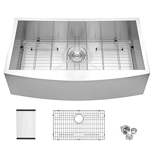 33 Framhouse Sink - Logmey 33 inch Kitchen Farmhouse Sink Apron Front Stainless Steel 18 Gauge Single Bowl Kitchen Farm Sink