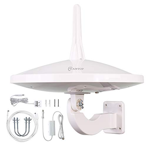 [Professional Version]Outdoor HDTV Antenna,ANTOP Digital TV RV Antenna 720° UFO Dual Omni-Directional Indoor Antenna with Smartpass Amplifier & 4G LTE Filter Fit for 4K HD 1080P VHF UHF Ship from USA