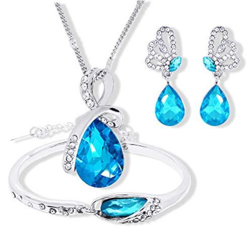 Stockton Fashion Halskette Ohrringe Armband Tränen der Engel Diamond Crystal Elegante Frauen Schmuck Set Kristall Anhänger Halskette + Ohrringe + Armband (Blau)
