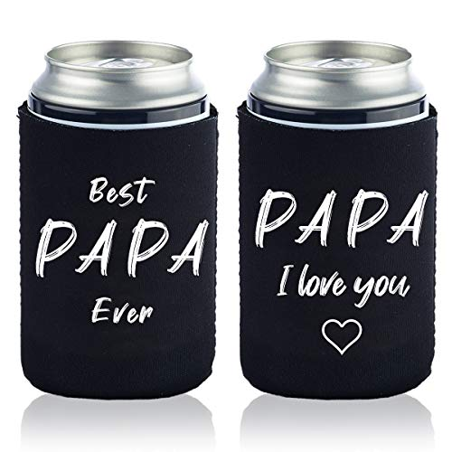 Best Papa Ever Gift Can Coolers Sleeves - Top Fathers Day Gifts or Grandfather Gift For Dads, Husband, Men - Fun Unique Gift Idea For Him From Daughter, Son, Wife,grandson,granddaughter-2PCS