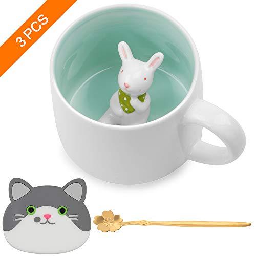 SAYOPIN Keramik Kaffeetasse Lustige Teetassen Handgemachte Nette Tasse 3D Für Freunde Mitbewohner Familie oder Kinder 3D Niedliche Tierkaffeetasse Als Überraschungsgeschenk Geburtstagsgeschenk