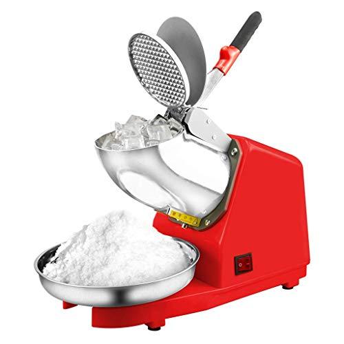 SBJI Elektrische Ice Crusher Shaver Schnee-Kegel-Hersteller-Maschine Red 187 lbs/hr für Haus und gewerbliche Nutzung (Edelstahl Doppelmesser)