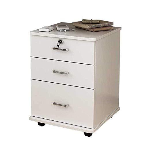 YASEking La presentación del gabinete del cajón del blanco tres capas de cajón con la rueda Tabla gabinete con antirrobo de bloqueo montado completamente, lima de metal Gabinete Organizador (Color: Bl