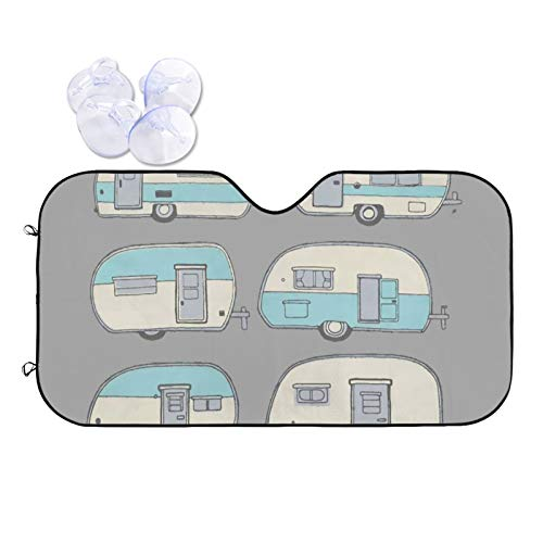 GAHAHA Parasol para parabrisas de coche, minibuses, color azul, bloqueador de vehículos, mantiene tu asiento fresco, parabrisas delantero y protector de viento