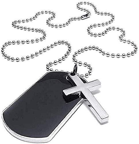NC66 Collar Joyas Hombres S Mujeres Collar Militar Estilo Cruzado Etiqueta de Perro Colgante con Cadena de 68 cm