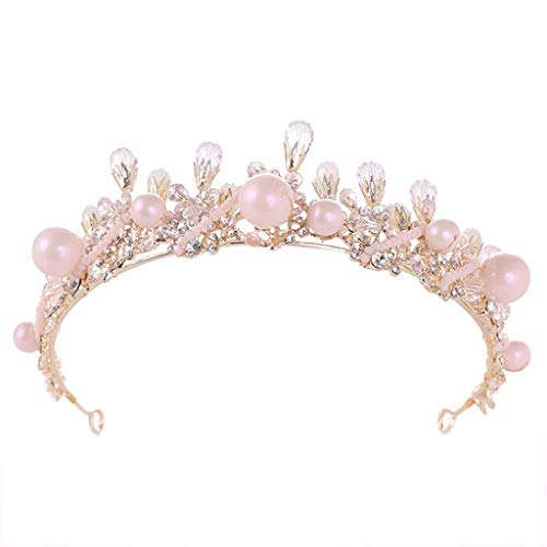 JJZXD Rose Tiara Boda del Oro for Mujeres y niñas - Concurso d Cinta de Cabeza, la Corona del Rhinestone Nupcial for Las Novias