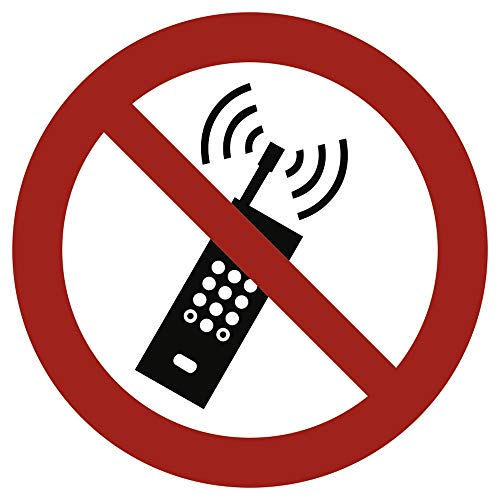 Stickers mobiele radio verboden volgens ASR A1.3 / DIN 7010 folie zelfklevend 20 cm Ø (mobiele telefoon verboden, mobiele telefoon verboden) weerbestendig