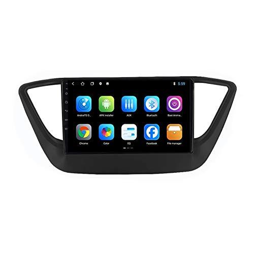 2 DIN Bluetooth Radio Coche Autoradio, con 9 Pulgadas HD Pantalla Táctil, Soporte Bluetooth Manos Libres/Mirror Link/FM/1080P Video/WiFi, para Hyundai Solaris 2016-2018,Octa Core,4G WiFi 4+64