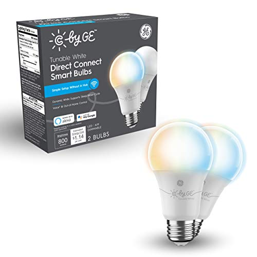 C by GE Tunable White Direct Connect Light Bulbs (2 A19 Smart LED Bulbs), 60W Replacement, Bluetooth/Wi-Fi Enabled, Alexa + Google Home Compatible Without Hub, 2-Pack (Packaging May Vary)