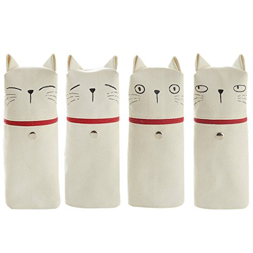 Cute Cat Emoji Canvas Standing Pencil Bag Pencil Case Pen Pouch(White)