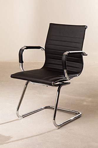 Cosmoliving cantilever sedia da ufficio sala riunioni telaio cromato con finitura in pelle PU Visitors Chair–nero