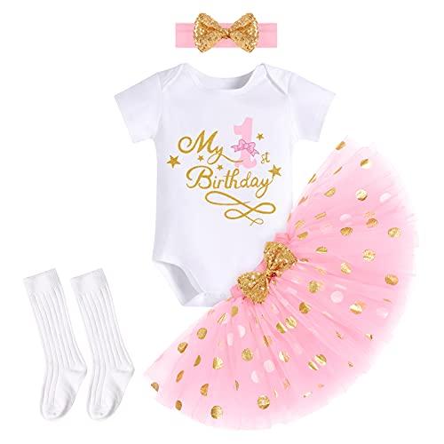 FYMNSI Baby Mädchen Mein 1. Erster Geburtstag Party Outfit Baumwolle Kurzarm Body Strampler Prinzessin Gepunktet Tütü Rock Stirnband Socken 4tlg Bekleidungsset Fotoshooting Kostüm Rosa 1 Jahr