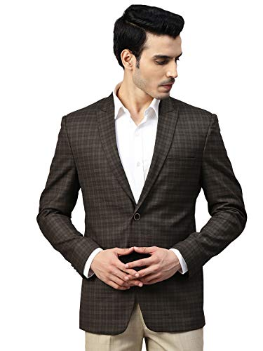 MANQ Men Brown Slim Fit Checked Single Breasted Blazer (Size: 38)