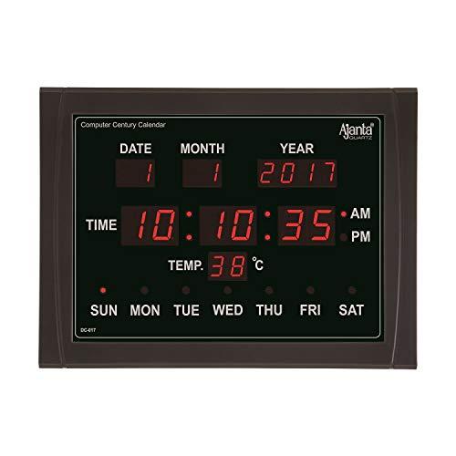 Ajanta Plastic Digital Wall Clock (Red and Black, 11.8x15.7x1.5 Inch)