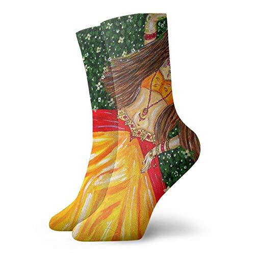 Hermosa chica india unisex deporte calcetines cortos casuales correr calcetines para hombres mujeres para correr senderismo caminar atlético