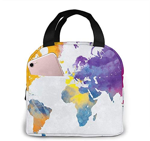Bolsas de almuerzo con mapa colorido del mundo, caja de almuerzo con aislamiento portátil, bolsa refrigeradora, bolsa Bento para viajes / picnic / trabajo