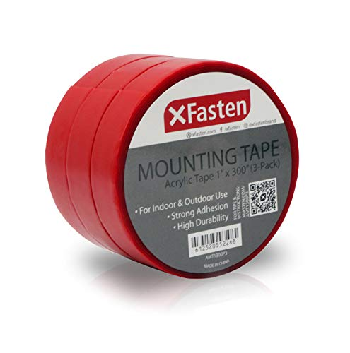 XFasten Extreme Double-Sided Acrylic Mounting Tape Removable, 1-Inch x 300-Inch, Pack of 3, Weatherproof, Super Strong Double-Sided Adhesive and Tough Bonding Strength