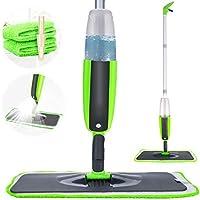 Tencoz Spray Mop Fregona con vaporizador Integrado Limpiador de Ventanas y Escoba Barredora de Empuje Manual con Almohadilla de Microfibra Reutilizable Aplicable en Seco y Húmedo Limpieza(300ml)