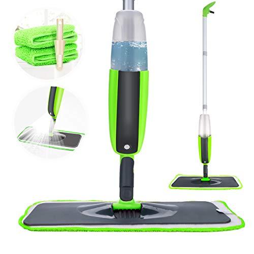 Tencoz Spray Mop, Mop Pavimenti Lavapavimenti spazzolone Mocio in Microfibra con capacità Rotante di 360 Gradi con 2 Panni in Microfibra e Un Pennello (300ML, Verde)