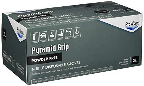 ProWorks Pyramid Grip Black Nitrile Gloves, Powder Free 8.5 mil (Palm) - GL-NT107BKFX (Pack of 100)