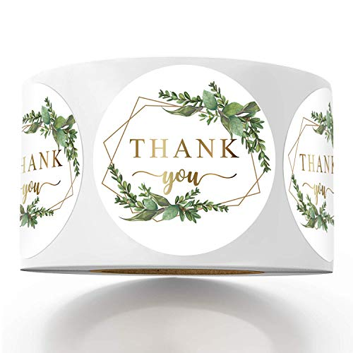 500 Chic Golden Greenery Frames Thank You Label Stickers, 1.4 Inches Circle Round Green Palm Leaves Wreath Thank You Stickers.