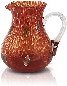 MAZZEGA ART & DESIGN Jarra de cristal de color estilo murano modelo Liberty, color rojo
