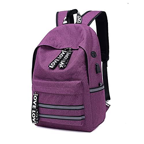 Borsa Da Lavoro Da Viaggio Per Donna, Con Porta Di Ricarica Usb Zaino Da Viaggio Per Laptop, Scuola Universitaria Resistente All'Acqua 20-35l. Purple-OneSize