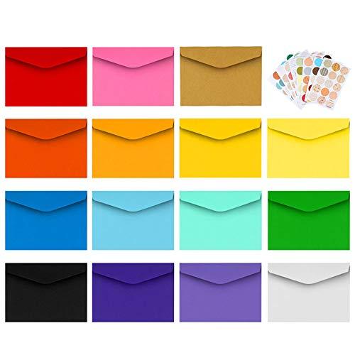 Mini Sobres 150pcs Multicolor Sobres Pequeños con 165 Piezas de Pegatinas Adhesivas para Invitación Felicitación de Navidad Boda Cumpleaños