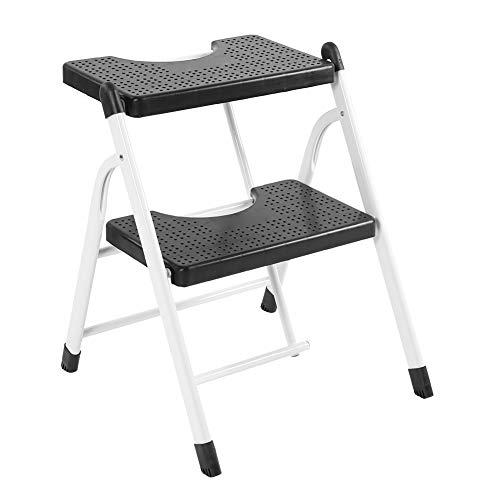 Taburete Escalera de Acero Plegable, Escalera de Tijera de 2 Peldaños Antideslizante Carga 120 kg de Cada Piso, Escalera de Mano Doméstico