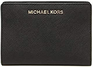 Michael Kors Women's Jet Set Travel, Medium Card Case Carryall Wallet with Removable ID Card Holder, Saffiano Leather - Black