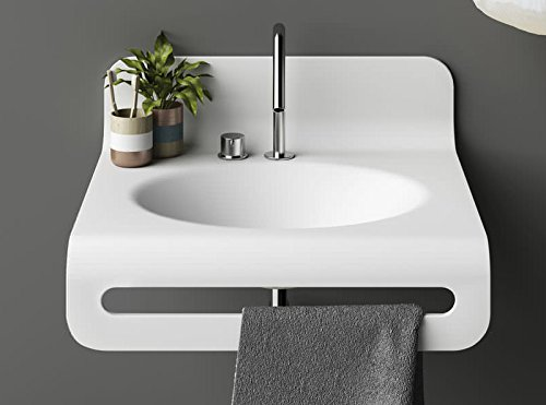 Planit wall sinks Wave wall sink in Corian WAVE1
