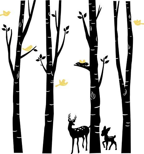 BDECOLL Birkenstämme mit Hirsch und Reh (2farbig) in der Größe 185 cm hoch x 200 cm breit/Wald/Tiere/Wandaufkleber/Wandsticker (Schwarz)