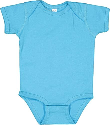 Rabbit Skins Baby Soft Short-Sleeve Bodysuit (4400) Turquoise, 18M