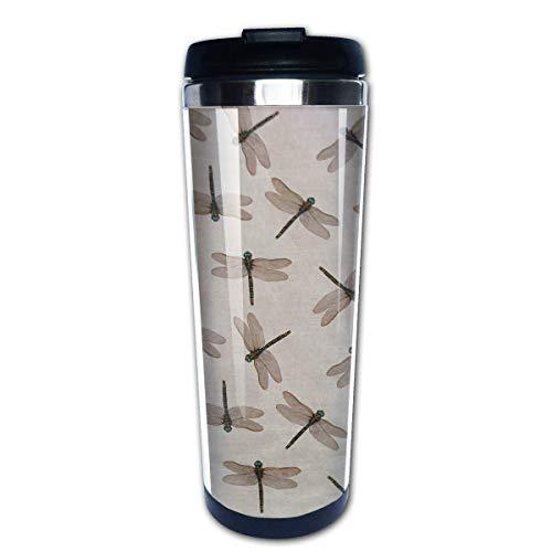 Taza de café de viaje con diseño de libélula, taza de café aislada de acero inoxidable, botella de agua deportiva, 13.5 oz