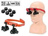YATO Profi Lupenbrille Stirnlupe Binokular mit 8 Linsen 10x/15x/20x/25x und LED-Beleuchtung, freie Hände