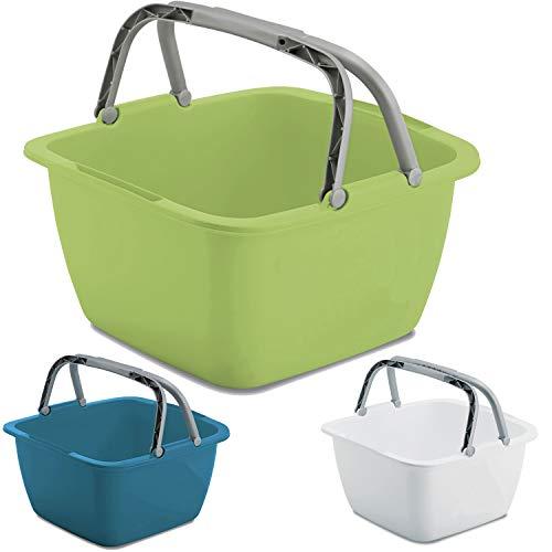 Schüssel mit Tragegriff Waschschüssel 18,5 Liter 40 x 40 cm Quadratisch Spülschüssel Wasserschüssel Tragekorb Kunststoff Spüle Korb Waschbecken Aufbewahrung Camping Abwaschschüssel Plastik Eimer