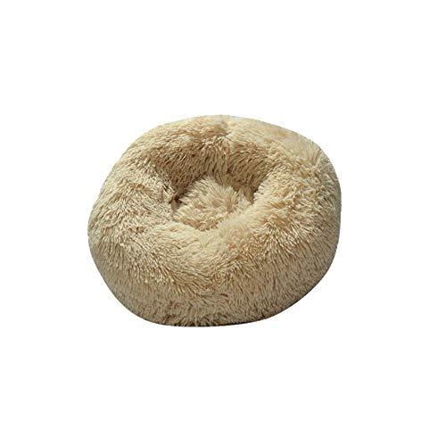 DIKOPRO Round Pet Bed Plush Winter Pet Nest,Cat Bed Dog Bed Fluffy Pet Bed Calm Cat Bed Cat Nest Soft Plush Bed Winter Warm Small Kennel Sofa Non-Slip Bottom Ease Sleep(Beige) M