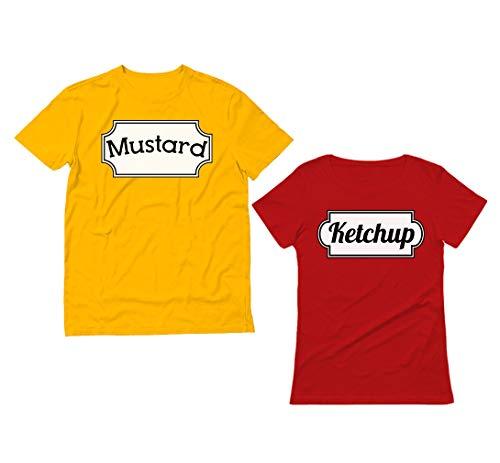 Ketchup & Mustard - Juego de camisetas para disfraz de pareja a juego para Halloween - - mujeres salsa de tomate XXL / hombres mostaza L