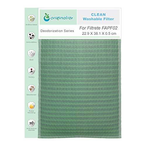 Originallife Filtro de purificación de aire Clean para Filtrete FAPF02, lavable, reutilizable, antiolores y antialérgenos