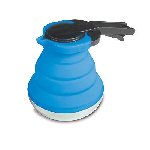 Siehe Beschreibung Leichte, Faltbare Kanne aus Silikon in blau 1,2 Liter mit Deckel und Griff • Kaffeekanne Teekanne Kännchen faltbar Camping Geschirr Zelt Küche
