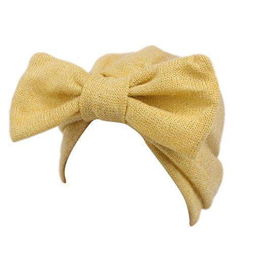 Fulltime® Enfants bébé filles tricot chapeau bonnet turban tête Wrap Cap bouchon de pile (Jaune)