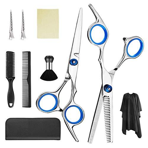 Professionell Haarschere Set, Haarschneideschere Set 10 Stk, Ausdünnende Schere, Rasiermesserkamm, Clips, Umhang, Friseurscheren-Set, Friseurset, Haarschneideschere,Scheren-Sets
