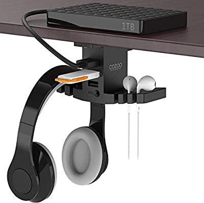 Headphone Stand with USB Hub Under Desk Headset Hanger Mount Dual Hook Holder with 3 USB Ports(usb3.0+usb2.0) and 3.5mm Jack AUX Port(Audio/Mic) External Sound Card For Gamer, DJ Earphone from ALACOO