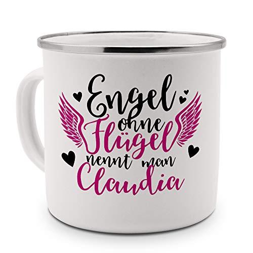 printplanet - Emaille-Tasse mit Namen Claudia - Metallbecher mit Design Engel - Nostalgie-Becher, Camping-Tasse, Blechtasse, Farbe Silber, 400ml