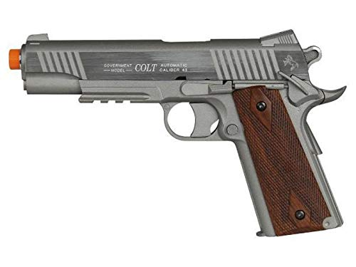 Palco Sports Airsoft - Model 180315 Colt 1911 Rail Gun Co2 Fixed Metal Slide- Stainless Steel/Brown, Stainless Steel