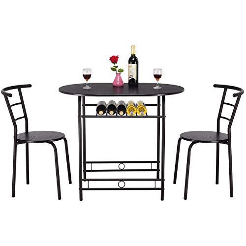 Royal Traders RT - Conjunto de mesa de comedor y 2 sillas de madera MDF con estructura de tubos de acero