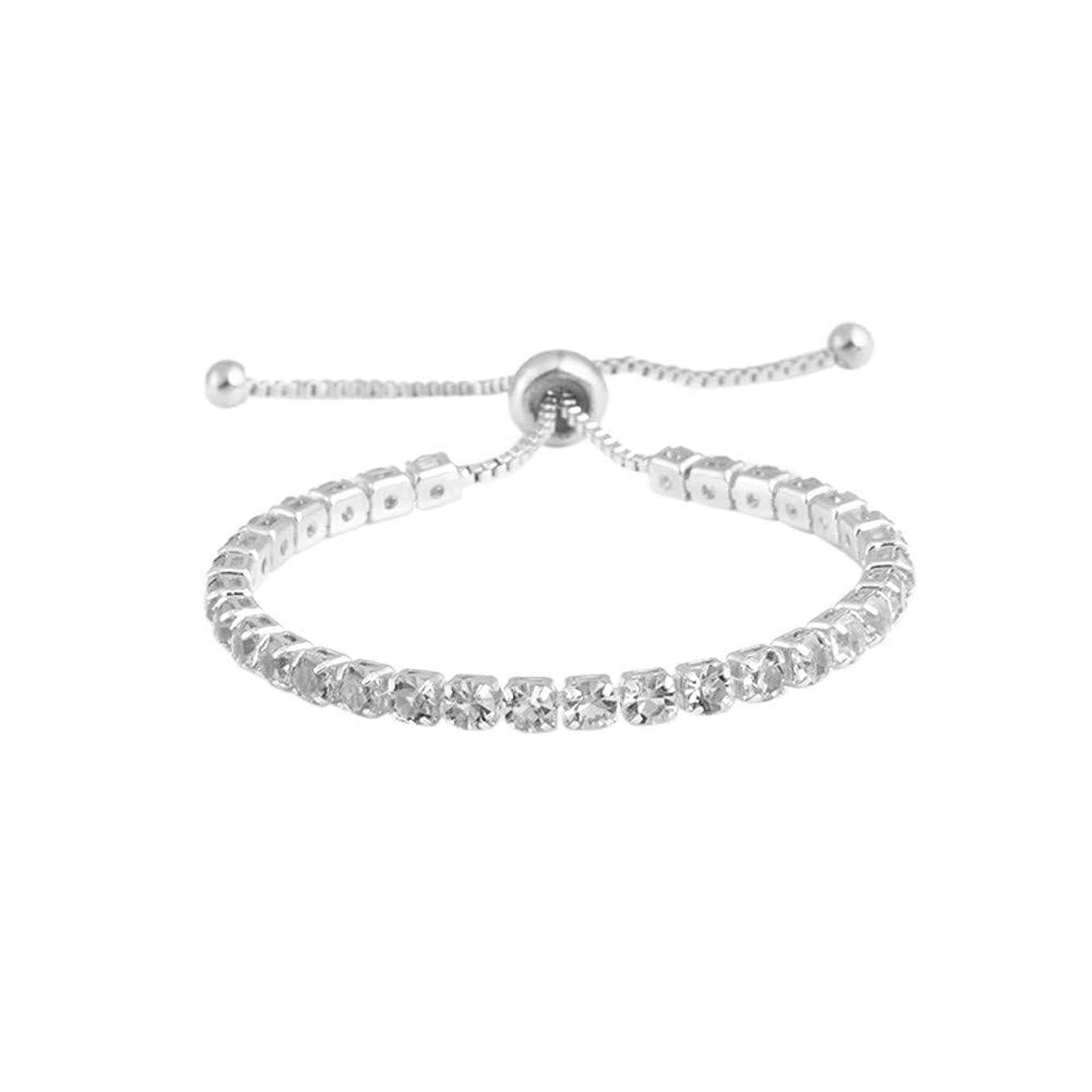 DZTZ Adjustable Bracelet,Simple Diamond Bracelet with Adjustable Crystal Push Pull Bracelet Bling Light for Girl Mother