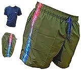 Lotto Boxer Mare + T-Shirt Omaggio, Costume Uomo, Pantaloncini da Bagno, Swim Short, Anche in Taglie conformate (48413 Army + T-Shirt Blu, XXL)