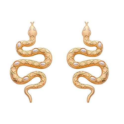 Pendientes Serpientes Grandes de Metal – Aretes Colgantes Dorados elegantes y misterioros para mujer